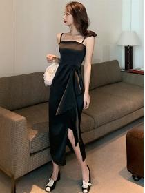 Wholesale Summer High Waist Flouncing Split Straps Dress