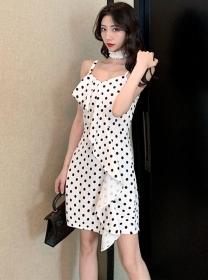 Charming Fashion Flouncing Dots Straps Slim Dress