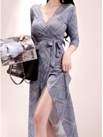 Fashion Korea V-neck Tie Waist Houndstooth Long Dress