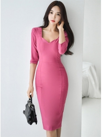 Grace Charming Pleated Square Collar Bodycon Dress