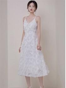 Brand Fashion High Waist Feathers Straps A-line Dress