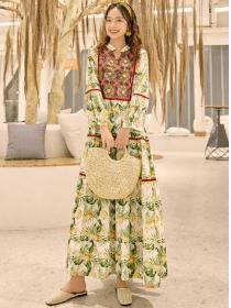 Retro Bohemia High Waist Flowers Maxi Dress