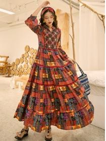 Retro Fashion Flowers Embroidery Tie Waist Long Dress