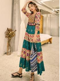 Fashion Retro Tie Waist Flowers Embroidery Maxi Dress
