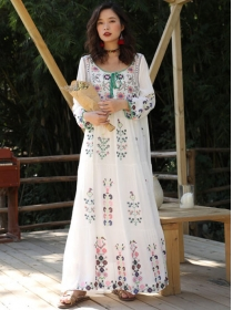 Boutique Fashion Flowers Embroidery Loosen Maxi Dress