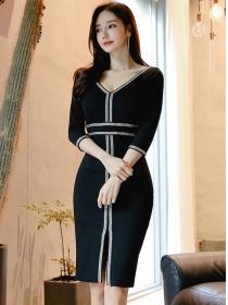 Fashion Korea V-neck High Waist Bodycon Dress