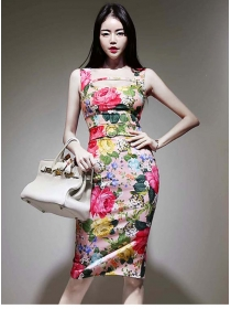 Pretty Fashion High Waist Flowers Skinny Tank Dress
