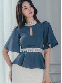 Fashion New Lace Splicing Flare Sleeve Flouncing Blouse