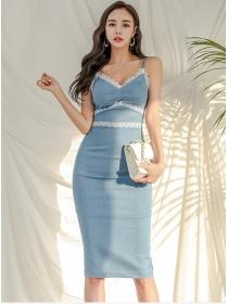 Grace OL Lace Splicing High Waist Skinny Straps Dress