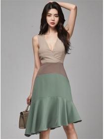 Korea Stylish V-neck Color Block Fishtail Tank Dress