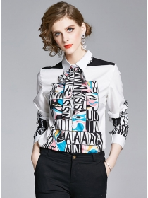 Europe Hot Selling Letters Tie Collar Loosen Blouse