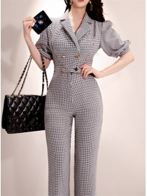 Modern Double-breasted High Waist Houndstooth Long Jumpsuit