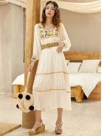 Vogue Korea Flowers Embroidery Square Collar Long Dress