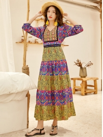 Bohemia Stylish 2 Colors Embroidery Flowers Long Dress