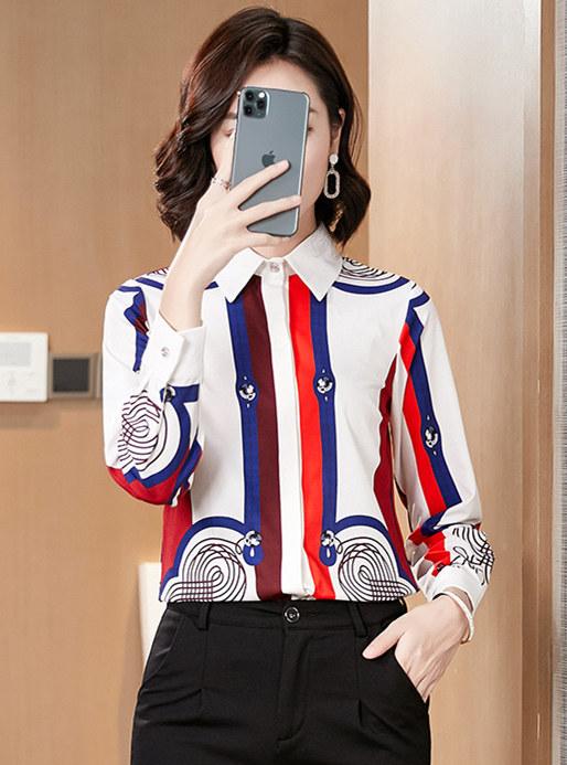 Wholesale Korea Stripes Long Sleeve Blouse