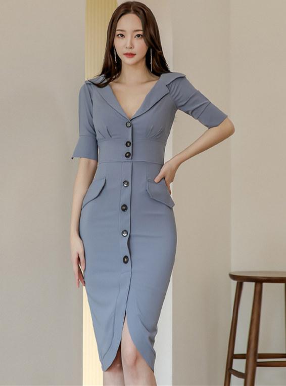Grace Lady 2 Colors Single-breasted V-neck Skinny Dress