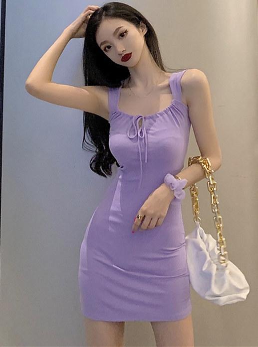 Sexy Wholesale 2 Colors Tie Collar Cotton Tank Dress