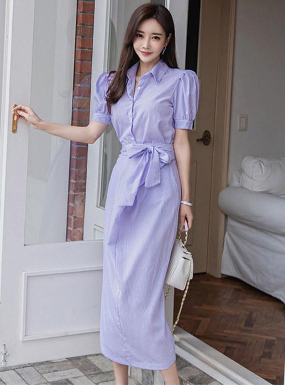 Korea New Shirt Collar Tie High Waist Two Pieces Dress