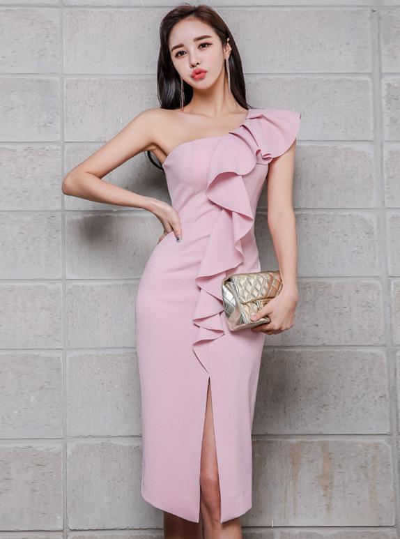 Elegant Sexy Flouncing Off Shoulder Split Tank Dress