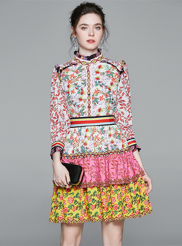 Charming Fashion Layered Flouncing Flowers A-line Dress