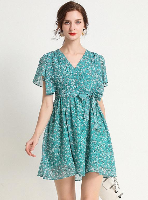 Charming Lady Tie Waist V-neck Flowers Chiffon Dress