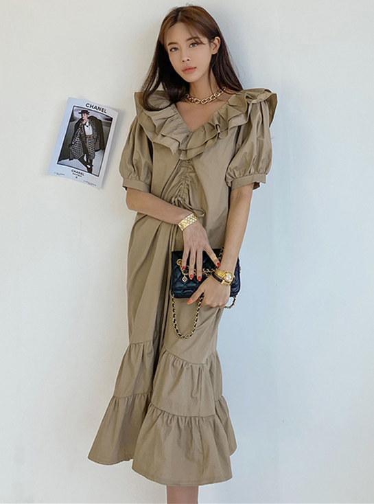 Korea Stylish 2 Colors Flouncing V-neck Loosen Fishtail Dress
