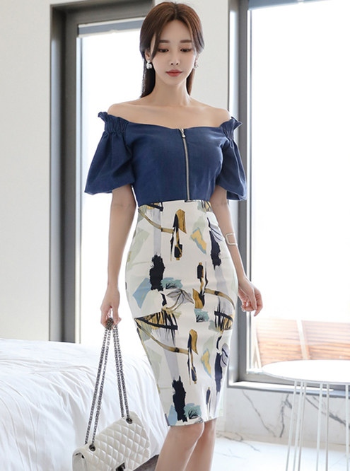 Grace Lady Zipper Boat Neck Blouse with Printings Midi Skirt