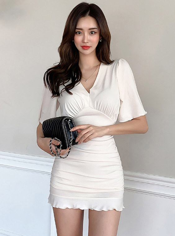 Wholesale Korea V-neck Fitted Waist Pleated Fishtail Dress
