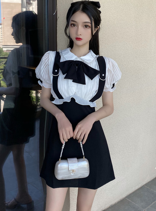 Lovely Girlish 3 Colors Bowknot Doll Collar Puff Sleeve Dress