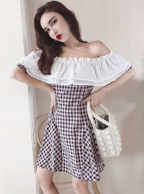 Classic Fashion Flouncing Boat Neck Plaids A-line Dress