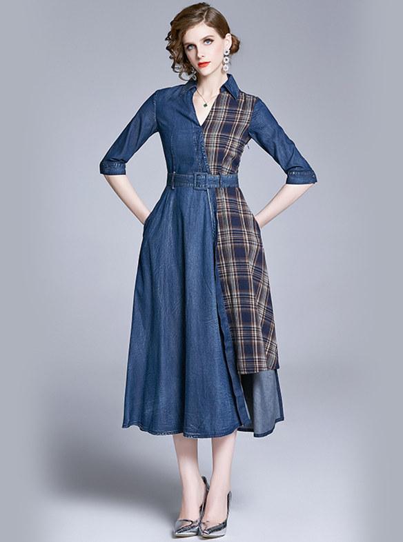 Europe Fashion Plaids Shirt Collar Splicing Denim Long Dress