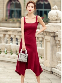 Hot Selling 2 Colors Knitting Straps A-line Dress