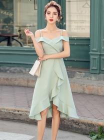 Grace Korea 2 Colors Boat Neck Fishtail A-line Dress