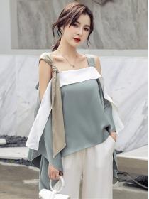 Street Fashion Color Block Loosen Straps Blouse
