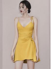 Sexy Fashion 2 Colors V-neck Flouncing Straps Dress