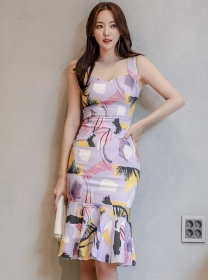 Summer New Square Collar Flowers Fishtail Tank Dress