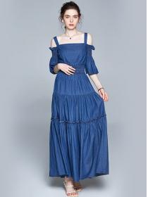 Boutique Fashion Boat Neck Elastic Waist Denim Long Dress