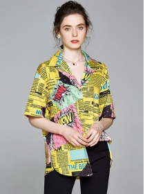 Street Fashion 2 Colors Printings Casual Loosen Blouse