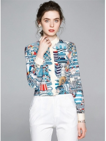 Retro Europe Buttons Open Flowers Long Sleeve Blouse