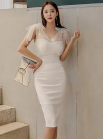 Grace Charming Gauze Bowknot Shoulder V-neck Slim Dress