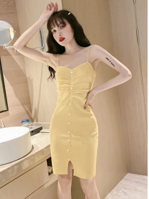 Wholesale Cheap 3 Colors Pleated Knitting Straps Dress