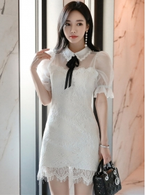 Grace Summer Gauze Puff Sleeve Doll Collar Lace Dress