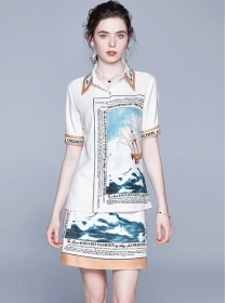 Europe Retro Shirt Collar Printings Two Pieces Dress