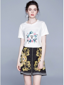 Summer New Flowers Patches T-shirt with Zipper A-line Skirt
