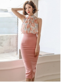 Modern Lady Flowers Blouse with High Waist Midi Skirt