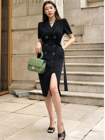 Quality OL 2 Colors Double-breasted Tailored Collar Slim Dress