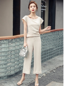 Summer New Boat Neck Pleated Wide-leg Leisure Suits