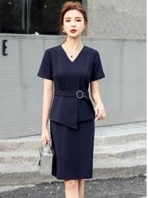 Fashion Lady V-neck Flouncing Waist Short Sleeve Dress