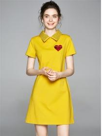 Pretty Girlish 2 Colors Doll Collar Heart A-line Dress