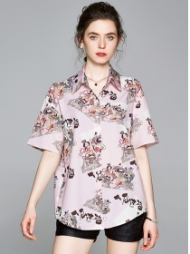 Retro Wholesale Shirt Collar Printings Loosen Blouse